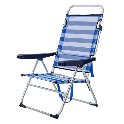 LOLAhome Tumbona Cama de Playa 4 Posiciones de Aluminio y textileno (Azul y Blanco)