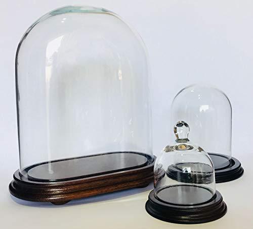 Euro Glass Angelo Campana di Vetro Cupola Ovale 20 x 12 h 20 cm Espositore in Vetro Base in Legno