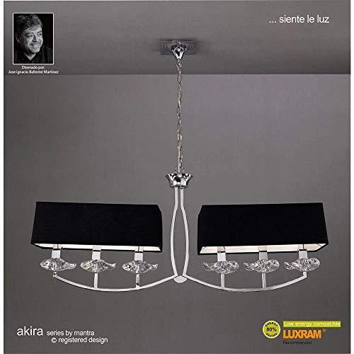 Mantra - Lámpara colgante 6 luces colección Akira, color cromo y tela negra