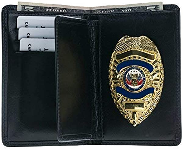 Police Badge Wallet All Leather Fits Any Shape Badge With A Pin Back Black