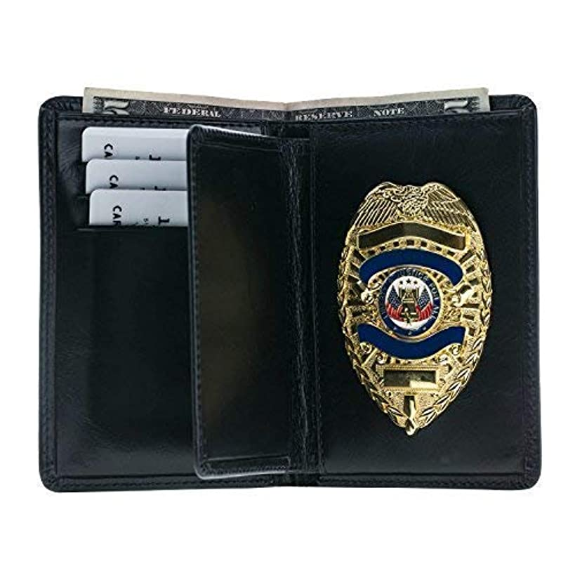 Police Badge Wallet, All Leather, Fits Any Shape Badge with a Pin Back- Black
