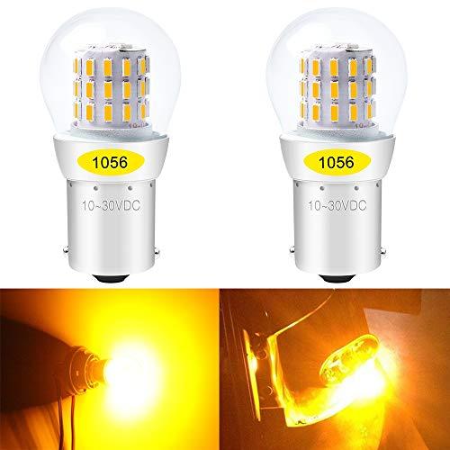 ALOPEE - (Confezione da 2) Lampadina di Ricambio per Auto a LED Giallo Brillante per Indicatore di Direzione Luce Lampeggiante 1056 BAU15S 7507 12496 RY10W, con Chip 3014 da 39 Pezzi, 10-30V-DC.