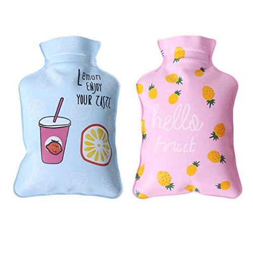 Zhoujinf Wärmflasche, 1 Stück Mini-Handwärmer, handlich, PVC, mit Wasser gefüllt, süße Cartoon-Katze mit roten Früchten, bedruckt, für Handwärmer As see the picture a