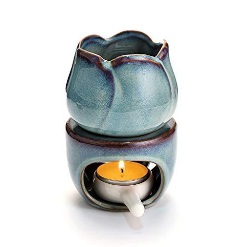 BSTKEY - Bruciatore per oli essenziali in ceramica, con cucchiaio, supporto per candela aroma, modello floreale, colore: Blu