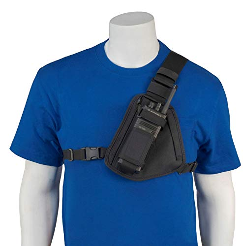 HOLSTERGUY RCH-101B Radio Chest Harness Chest Pack Shoulder Radio Holster with an Adjustable Single Radio Pouch for Motorola Handheld Two-Way Radios and Walkie Talkies RCH-101B Made in USA