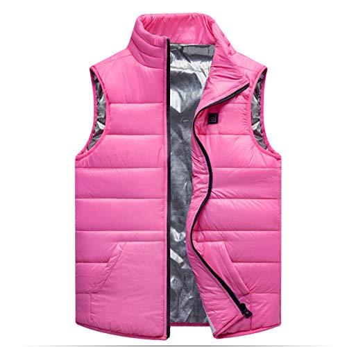 HGYJ Chalecos calefactable,Chaleco para niños, Chaleco de algodón con calefacción USB de otoño e Invierno, Chaqueta de calefacción Lavable para Exteriores,Pink,130CM