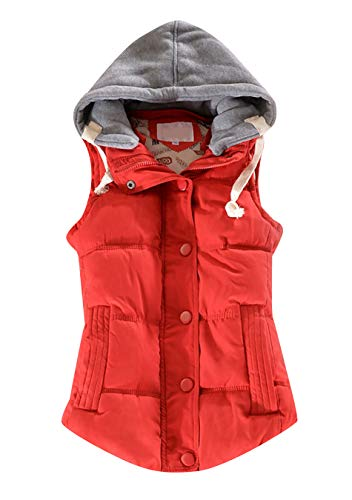 EFOFEI Damen Thicken Sleeveless Vest Warmer Mantel Für Winter Rot S