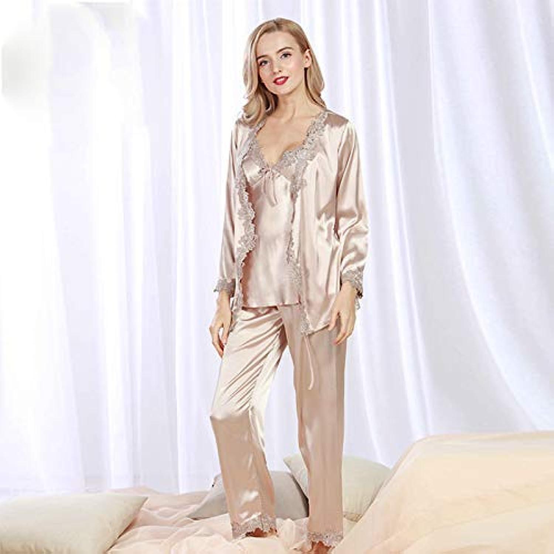 DALAI Autumn Yukata Nine-Point Sleeve Pajamas Ladies Three-Piece Silk lace Sexy Pajamas Home Service (color   Grey, Size   M) (color   Grey, Size   Medium)