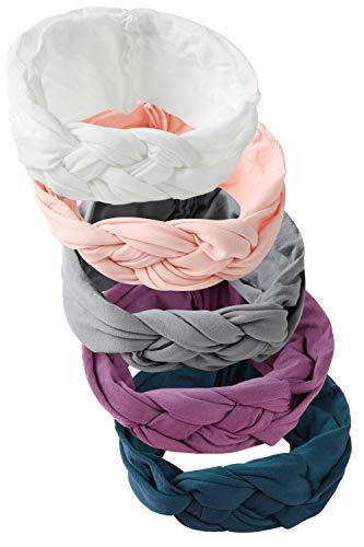 Hocaies Vendas del bebé Hairband de los bebés recién Nacidos Diademas de bebé anchas con lazo Diadema Elástica Niñas Banda Para Cabeza Bebe Accesorio Bebe Niñas Recien Nacida (5 Piezas - H)