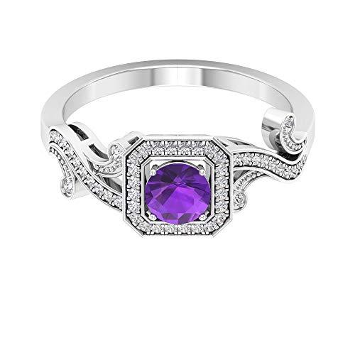 Anillo de diamante de 0,40 ct certificado de amatista solitario con cuentas grabadas, anillo de novia con halo de diamante de 1/4 ct, 14K Oro blanco, amatista, Size:EU 50