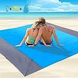 Coperta da Spiaggia Grande Tappetino da Spiaggia Impermeabile Senza Sabbia 200 * 210cm Coperte da Picnic Leggere con 4 Chiodi Fissi per Viaggi, Campeggio, Escursionismo