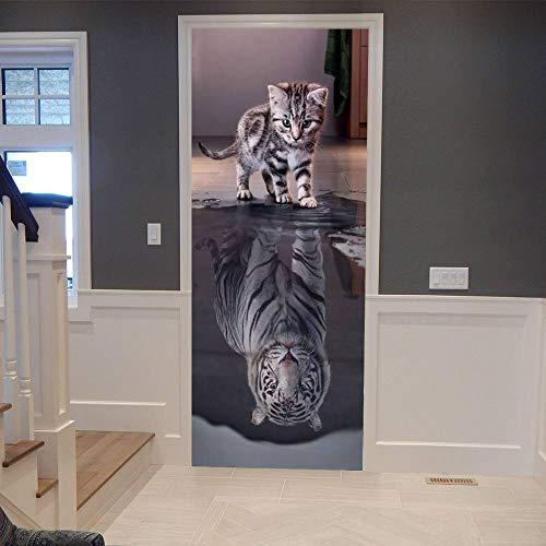 3D Türtapete Selbstklebend TürPoster Katze wird Tiger Türaufkleber Fototapete Abziehen und Aufkleben Türfolie Poster Tapete 86x200cm