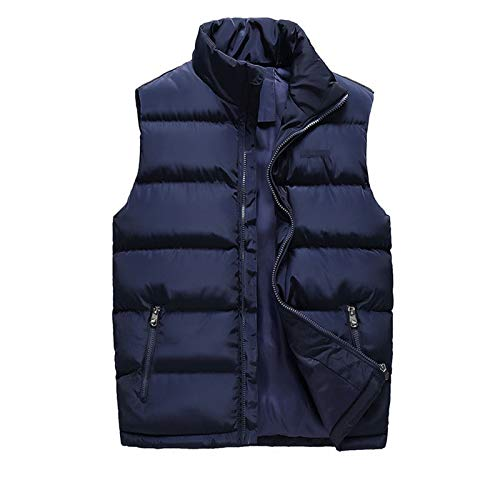 Chaleco de Invierno para Hombre sin Mangas Chaquetas Casual de Moda de Algodón Abajo Chaleco Abrigos Otoño Chalecos Caliente Outwear