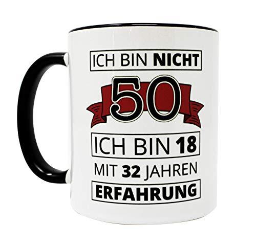 Close Up 50. Geburtstag Tasse Ich Bin Nicht 50 - weiß, aus Keramik, spülmaschinengeeignet, Fassungsvermögen ca. 320 ml