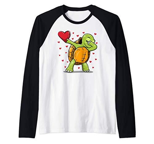 Linda Dabbing Tortuga - Divertido disfraz de San Valentn Camiseta Manga Raglan