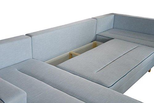 mb-moebel Ecksofa Eckcouch mit Bettkästen mit Schlaffunktion Couch Wohnlandschaft U-Form Polsterecke Blau LACO I mit HOCKER (Ecksofa Rechts) - 2