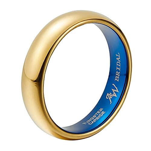 AW BRIDAL Anillo para Hombres/Mujeres de Tungsteno, Oro de 5 mm de Ancho, Anillo de Compromiso, Ajuste Cómodo, Tamaño32.25