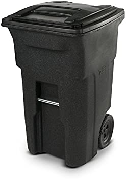 Toter 64 Gallon Heavy Duty Two Wheeled Trash Can with Lid (Blackstone)