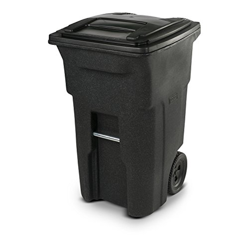Toter 25564-R1209 Residential Heavy Duty Two Wheeled Trash Can, Blackstone, 64 gallon