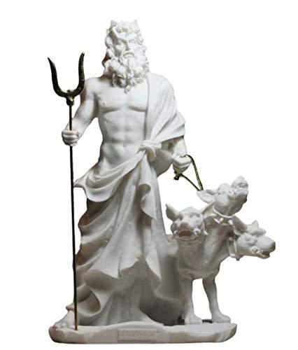 greekartshop Hades Pluto God of Underworld & Cerberus Alabaster Statue Sculpture 9.45 inches