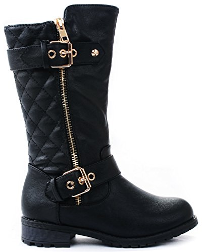 J.J.F Shoes Kids Girls Mango21 Black Dual Buckle/Zipper Quilted Mid Calf Motorcycle Boots-1