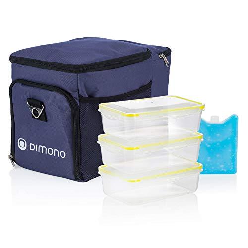 Dimono Kühltasche Picknicktasche 15 Liter mit 3 Brotzeitdosen - Lunchtasche Isotasche für Mittagessen inkl. 3 Boxen, Kühlakku