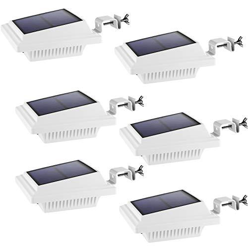 Dachrinne Solarlampe 40 LEDs - BILLION DUO Solarlampen für Außen | Weiße Warmweiße Solar LED Beleuchtung Zaunlicht, 3W Sicherheitswandleuchte Außenlampe für Garten, Garage, Patio, 6 pack