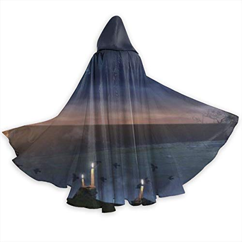 WTWT Halloween-DekorationenHalloween Witch Hat Wallpaper Halloween Cloak Fancy Hooded Cape with Drawstring Adult Cool Witch Robe Extra Long Party Cape
