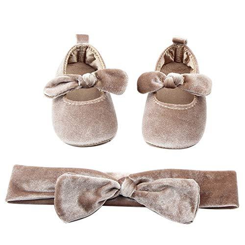 amropi Bebé Niña Zapato con Cinta Diadema Niños Primeros Pasos Zapatos de Princesa Suave Suela (Almendra,9-12 Meses)