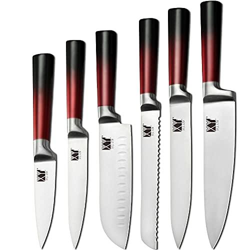Cuchillo De Cocina Juego De Cuchillos De Acero Inoxidable Cuchillo De Carne De Carne Cuchillo De Cuchillo Cuchillo Chef Cuchillos Conjunto Fruta Verduras Cuchillo Colorido Manija 6Pcs-Rojo