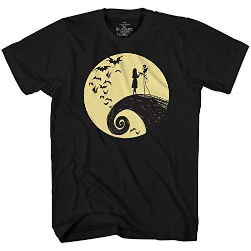 Disney Nightmare Before Christmas Jack Sally Moon T-Shirt (Black,XXXL)