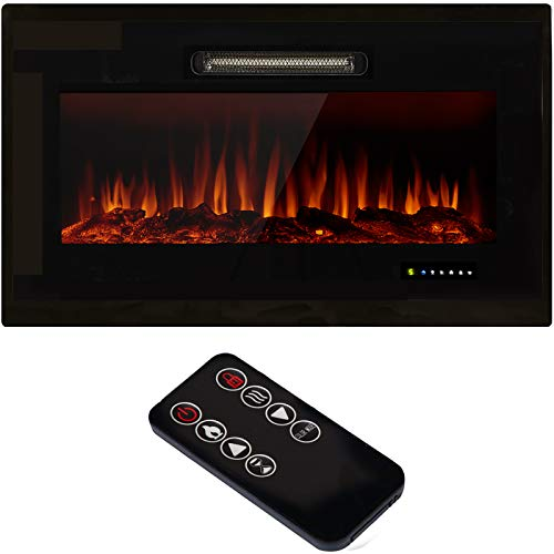 U-MAX 36  Recessed Wall Mounted Electric Fireplace Insert, 9 Colors Flame Touch Control Screen & Remote 750-1500W Heater with Timer, Log & Crystal Hearth Options, Black