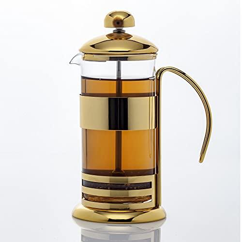 Epinox French Press - Cafetera de émbolo (0,35 L, acero inoxidable, apto para lavavajillas, cristal, jarra y prensa, diseño elegante con marco de metal), color dorado