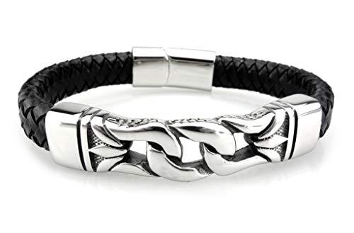 URBANTIMBER Wikinger Lederarmband keltische Knoten aus Edelstahl - Silber