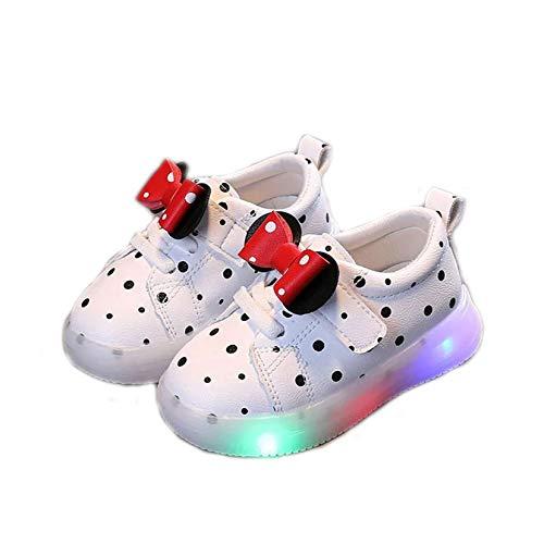 Zapatillas de deporte para niños, transpirables, transpirables, ligeras, para niñas, princesa, de moda, con luces LED, con flash LED (tamaño: 23, color: blanco)