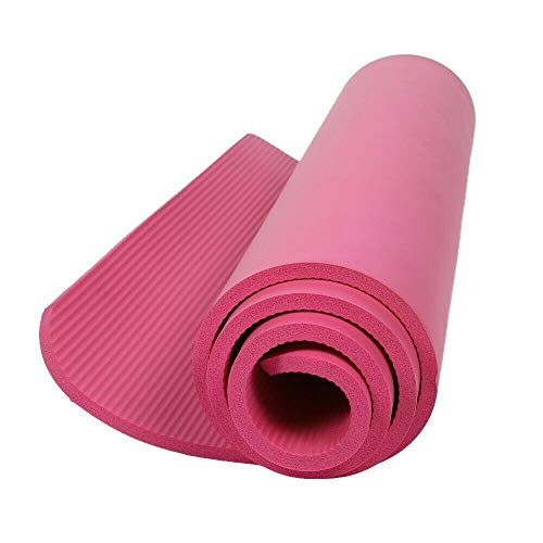 """Extra Thick 10mm Exercise Yoga Pilates Mat Gym Fitness NBR 72""""x 24"""" w/Bag Strap- Pink Montana"""