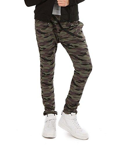 AlexFashion Camuflage Baggy Military Hose mit Zip für Mädchen Hosen zu Schule Sport Skate Kinder Chino Harlem Streetwear 116-158 (152, Camuflage)