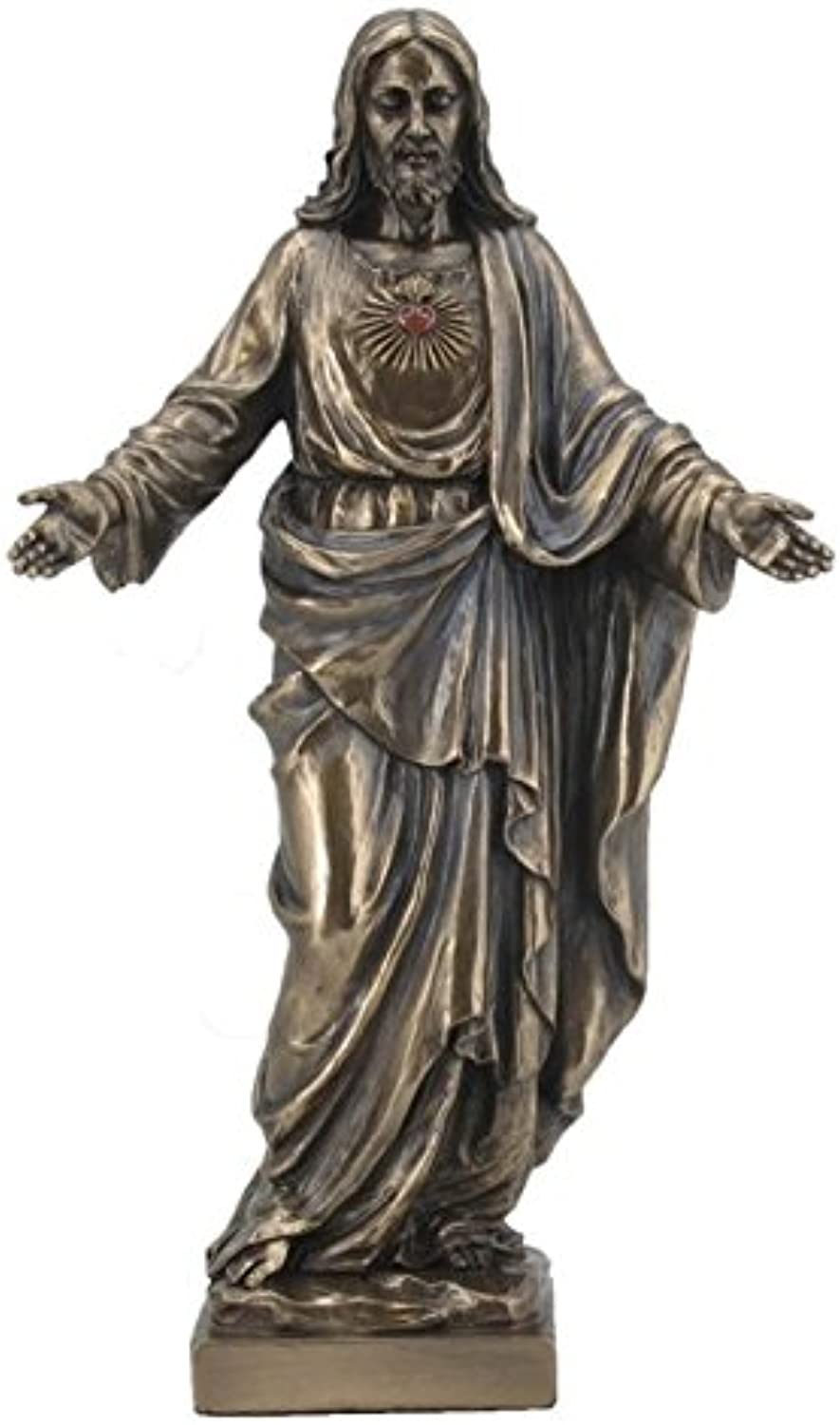 10 Inch Sacred Heart of Jesus with Open Arms Bronze color Figurine