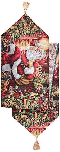 Violet Linen Decorative Christmas Tapestry Table Runner, 13' x 70', Santa Claus Design