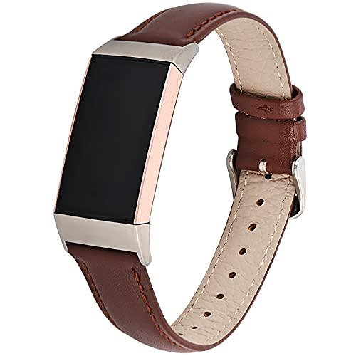 Compatible con la correa de Fitbit Charge 4/Charge 3, Doweiss Banda Wristband de repuesto diseñada para mujeres y hombres. Las correas de piel para los relojes conectados, carga 4/Charge 3 (marrón).