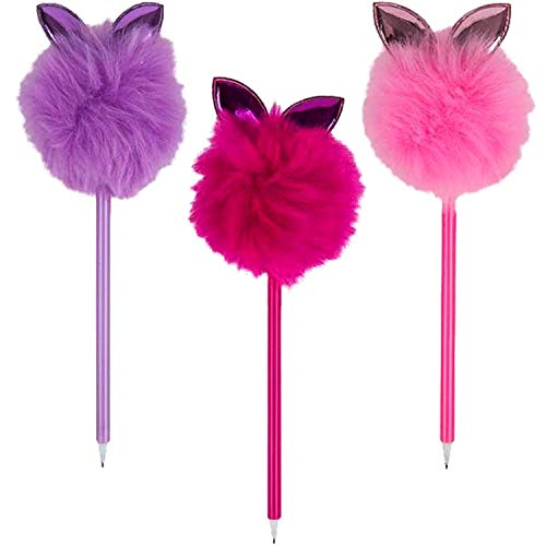 Kicko Bunny Ear Pom Pom Pen - 3 Pack - Assorted Colors - Ear Bunnies Ballpen - for Easter Egg Hunting, Scrapbooking, School Supply, Decorative, Gift - 9 Inches
