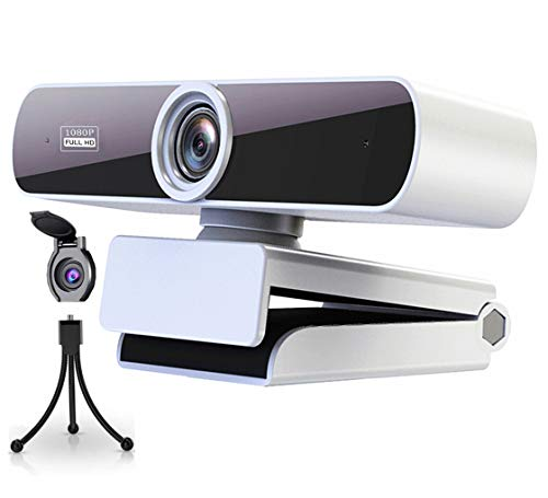 Webcam1080p Full HDconMicrofono,Webcam per PC,Webcam Bianca per Videochiamate,Studio,Conferenza,VideowebcameraUSB2.0,Compatibile con Windows, Mac e Android,Tutela della privacy e Treppiedi