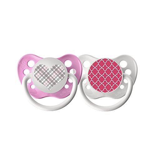 Ulubulu Expression Pacifier Set for Girls, Pink Plaid Heart and Pink Moroccan Pattern, 6-18 Months