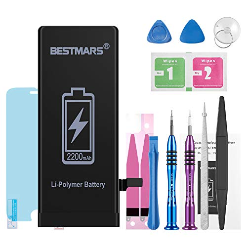 BESTMARS Battery Compatible for iPhone 6s, 2200mAh High Capacity 0 Cycle Li-ion Replacement Battery with Full Set Repair Tool Kit, Adhesive Strip, Instructions and Screen Protector - 2 Year Warranty