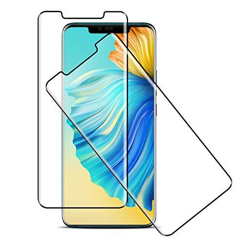 [2 Pièces] Verre Trempé Compatible avec Huawei Mate 20 Pro, [3D Incurvé] Protecteur d'Ecran, Compatible 3D Touch, Anti-Bulle, 9H Dureté, HD Protecteur d'Ecran - Noir