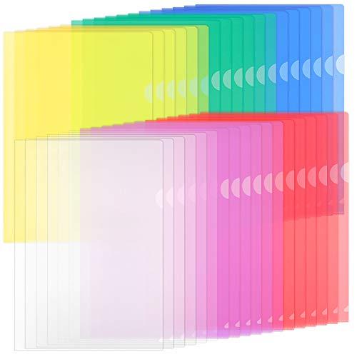 ZCZN 42 Pcs Chemises Plastique, Dossier Pochette A4 Pochette Document Personnalisable de 6 Couleurs Vives Transparent Plastique Sous Chemise pour Ranger ou Classer Papiers, Documents, etc - 31*22 cm