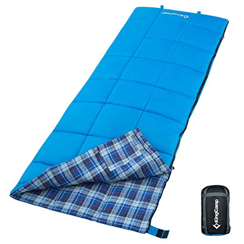 KingCamp Warm Weather Sleeping Bags 3 Season Cotton Flannel Lightweight Portable Envelope Sleeping Bag for Adults Camping Hiking Backpacking with Compression Sack