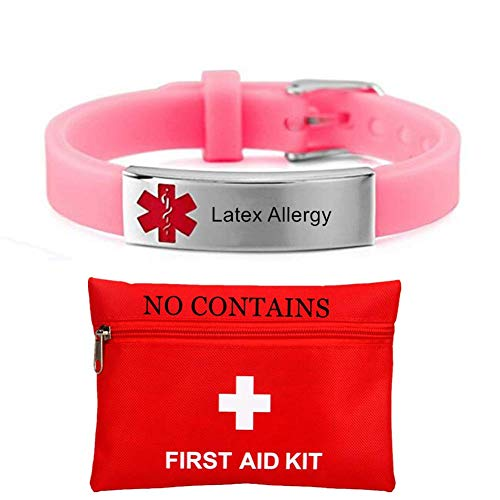Custom Silicone Medical Latex Allergy Awareness Bracelet for Kids Stainless Steel Nameplate ID Bracelets for Girls Boys Adults Children Food Allergic Alert Jewelry ICE Names Disease Customizable