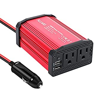 300W Car Power Inverter DC 12V to 110V AC Converter 4.8A Dual USB Charging Ports Car Charger Adapter  Red