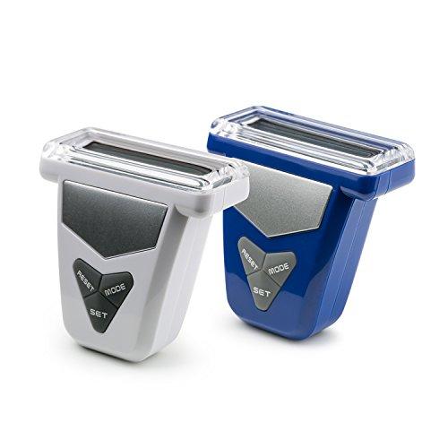 Incutex 2X Schrittzähler, Stepcounter,Schrittmesser, Entfernungsmesser, Pedometer mit LCD Display, blau/weiß